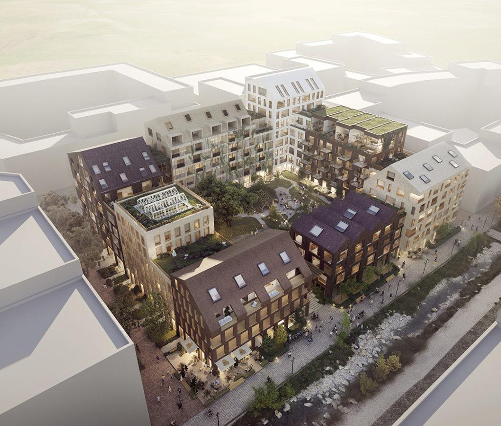 Rakennusliike Lapti Oy rakentaa Turun Pihlajaniemeen moni-ilmeisen asuinkorttelin, johon tulee yhteensä noin 300 asuntoa. Havainnekuva: Lundén Architecture Company